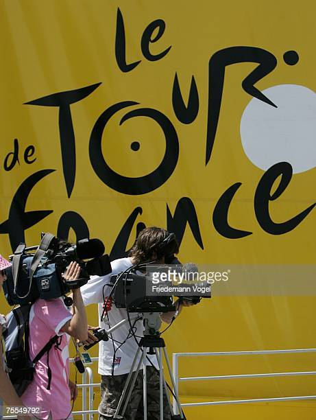 Ttv camera men are seen in front of a Tour de France banner during stage eleven of the Tour de France from Marseille to Montpellier on July 19, 2007...