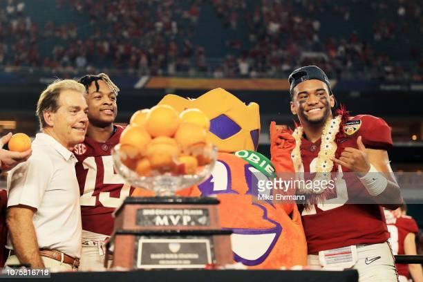 Tua Tagovailoa of the Alabama Crimson Tide and the Alabama Crimson celebrate their 4534 victory over the Oklahoma Sooners during the College Football...