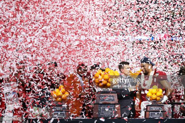 Tua Tagovailoa of the Alabama Crimson Tide celebrates after the win against the Oklahoma Sooners during the College Football Playoff Semifinal at the...