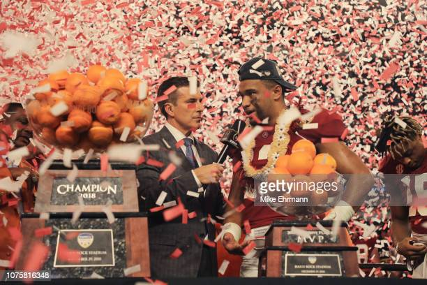 Tua Tagovailoa of the Alabama Crimson Tide celebrates after the win against Oklahoma Sooners during the College Football Playoff Semifinal at the...