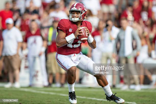 Tua Tagovailoa of the Alabama Crimson Tide drops back to pass during a game against the Texas AM Aggies at BryantDenny Stadium on September 22 2018...