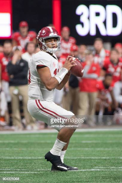 Tua Tagovailoa of the Alabama Crimson Tide passes against the Georgia Bulldogs during the College Football Playoff National Championship held at...