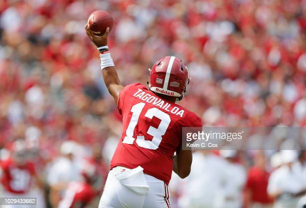 Tua Tagovailoa of the Alabama Crimson Tide passes against the Arkansas State Red Wolves at BryantDenny Stadium on September 8 2018 in Tuscaloosa...