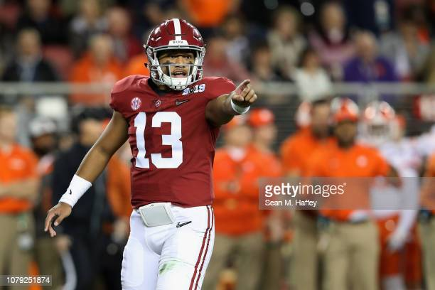 Tua Tagovailoa of the Alabama Crimson Tide reacts against the Clemson Tigers in the CFP National Championship presented by ATT at Levi's Stadium on...