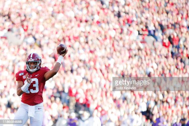 Tua Tagovailoa of the Alabama Crimson Tide throws a pass during the first half against the LSU Tigers in the game at BryantDenny Stadium on November...