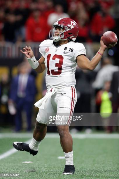Tua Tagovailoa of the Alabama Crimson Tide throws a pass during the second half against the Georgia Bulldogs in the CFP National Championship...