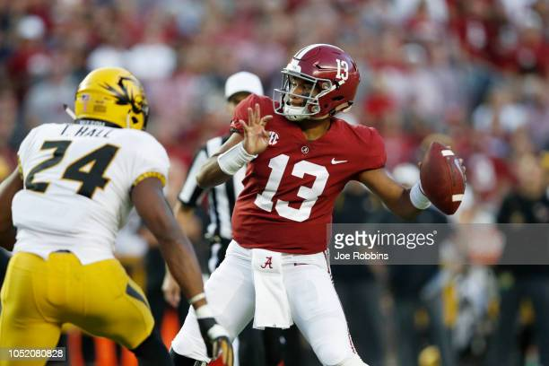 Tua Tagovailoa of the Alabama Crimson Tide throws a pass in the first quarter of the game against the Missouri Tigers at BryantDenny Stadium on...