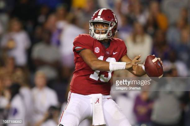 Tua Tagovailoa of the Alabama Crimson Tide throws a third quarter pass while playing the LSU Tigers at Tiger Stadium on November 3 2018 in Baton...