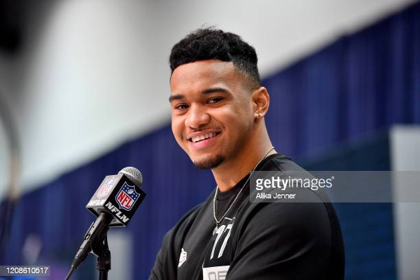 Tua Tagovailoa #QB17 of Alabama interviews during the first day of the NFL Scouting Combine at Lucas Oil Stadium on February 25 2020 in Indianapolis...