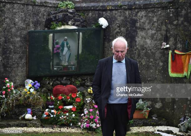 Tuam Mother and Baby home survivor, Walter Francis pays his respects at the shrine which stands on a mass burial site which was formerly part of the...