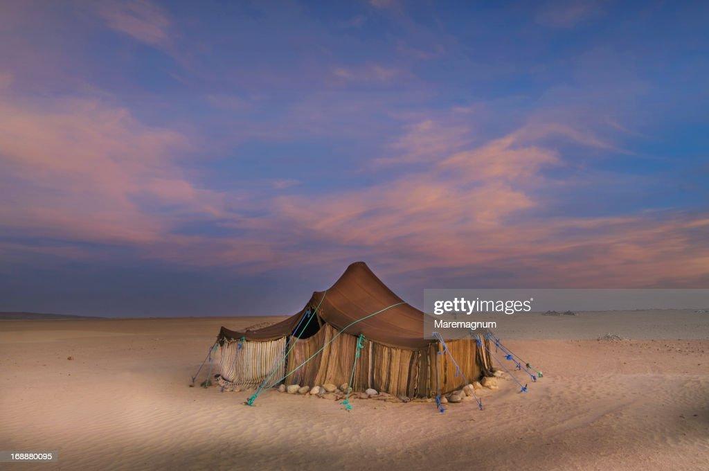 Tuareg camp in the desert near Ichmid : Stock Photo