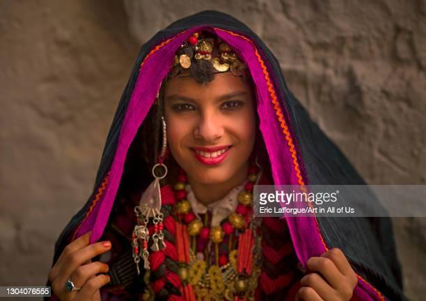 Tuareg girl in traditional clothing, Tripolitania, Ghadames, Libya on October 28, 2007 in Ghadames, Libya.