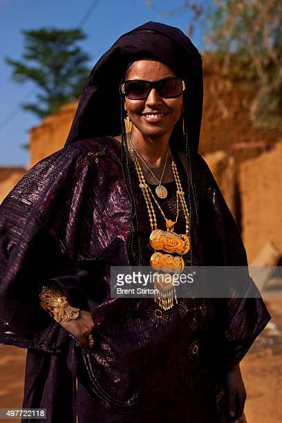 Tuareg woman attends the wedding of tuareg girl Mariam Francois Acosta a girl descended from mixed Tuareg French blood on September 25 2009 in Touwa...