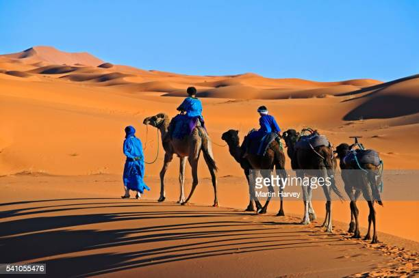 tuaregs crossing erg chebbi - tuareg tribe stock pictures, royalty-free photos & images