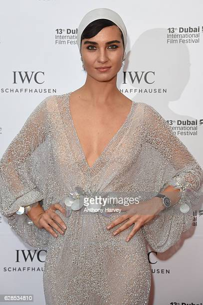 Tuba Buyukustun Turkish actress and IWC Brand Ambassador attends the fifth IWC Filmmaker Award gala dinner at the 13th Dubai International Film...