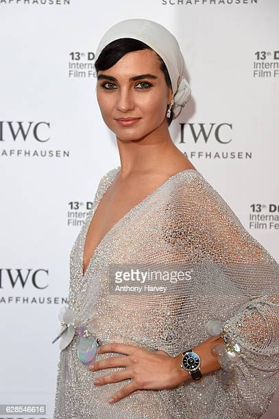 Tuba Buyukustun Turkish actress and IWC Brand Ambassador attends the fifth IWC Filmmaker Award gala dinner at the 13th Dubai International Film...