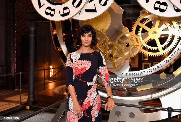 Tuba Buyukustun visits the IWC booth during the Maison's launch of its Jubilee Collection at the Salon International de la Haute Horlogerie on...