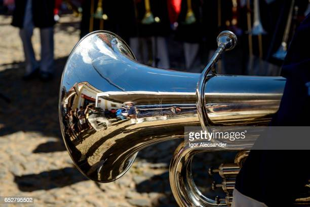 tuba, fanfare parade school festival, rio de janeiro state, brazil - brass band festival held in rio stock pictures, royalty-free photos & images