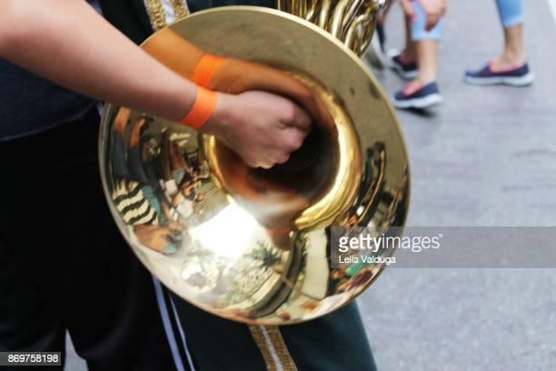 a tuba in the fanfare! - kapel stockfoto's en -beelden