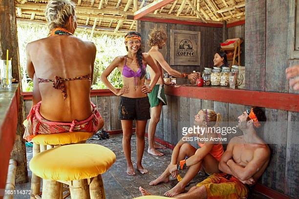 'Tubby Lunchbox' Brenda Lowe Andrea Boehlke and Edward 'Eddie' Fox of the Gota Tribe enjoy their reward during the seventh episode of SURVIVOR...