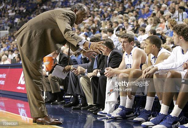 Tubby Smith the Head Coach of the Kentucky Wildcats gives instructions to his team during the game against the Mississippi Valley State Devils on...