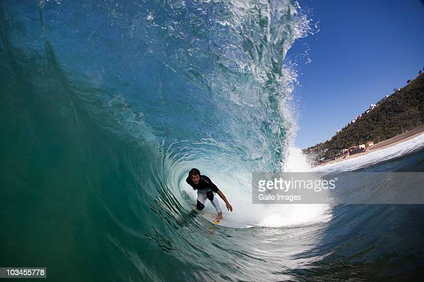 Tube Ride for Young Surfer, Brighton Beach, Durban, Kwazulu Natal, South Africa