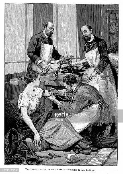 Tubercular patient being given direct blood transfusion from a goat at Dr Bernheim's clinic1891EngravingParis