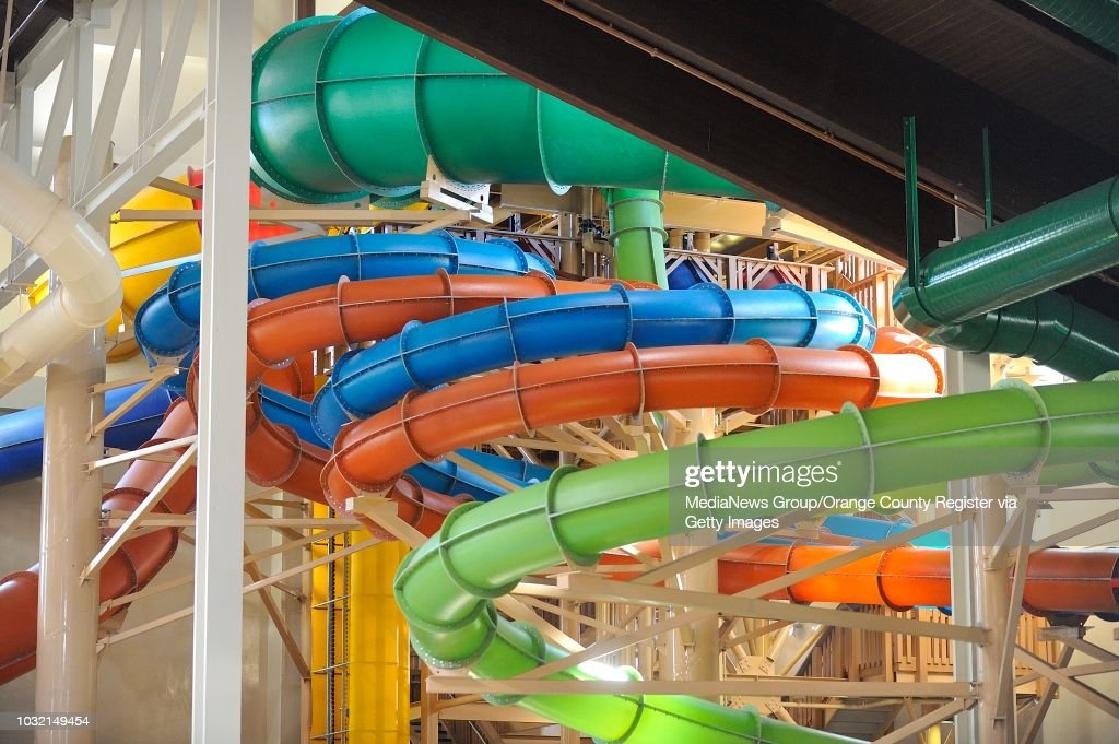 Tubes From Water Rides High Above The Water Park At Great Wolf Lodge In Garden  Grove