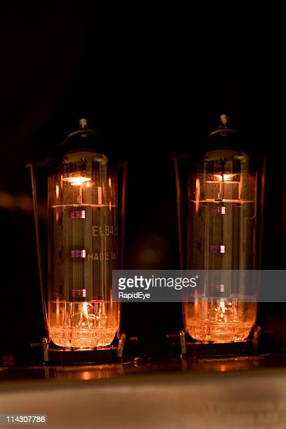 Tubes glow in guitar amplifier