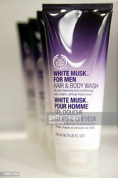 Tubes of Body Shop White Musk for Men hair and body wash is seen on display at a store in Paris France on Wednesday Nov 21 2012 Body Shop...