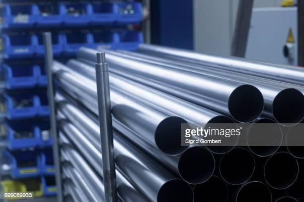 tubing, stored in engineering plant, close-up - sigrid gombert fotografías e imágenes de stock