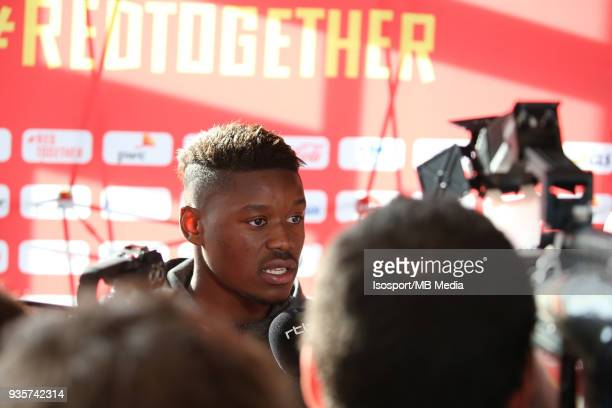 20180319 Tubize Belgium nAnthony LIMBOMBE pictured during a press conference of the Belgian national soccer team Red Devils at the Belgian national...