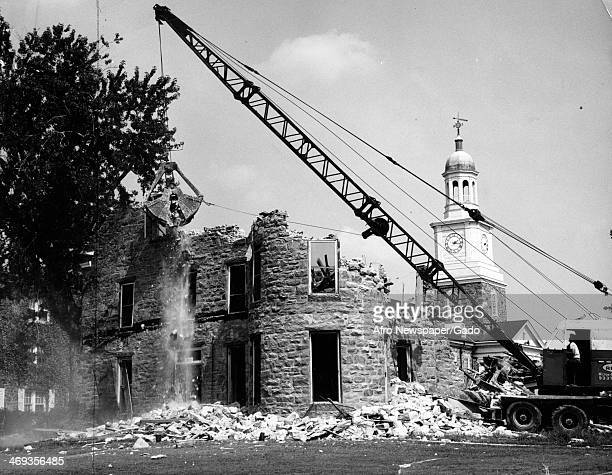 Tubman house woman's dormitory named after Harriet Tubman at Morgan State College being demolished Baltimore Maryland 1950
