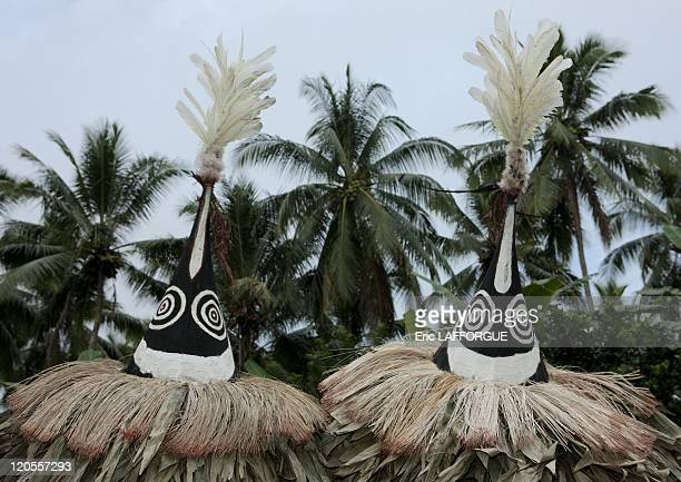 Tubuan dance in New Britain, Papua New Guinea on October 02, 2009 - Tumbuan dance in Karavia liu village. The masks are supposed to be female. There...