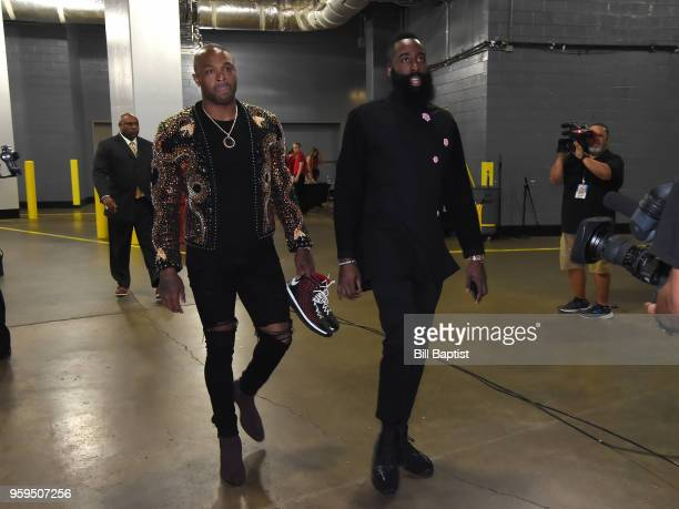 Tucker and James Harden of the Houston Rockets arrive at the arena before Game One of the Western Conference Finals against the Golden State Warriors...