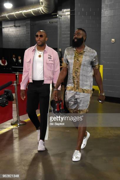 Tucker and James Harden of the Houston Rockets arrive before Game One of the Western Conference Semifinals against the Utah Jazz during the 2018 NBA...