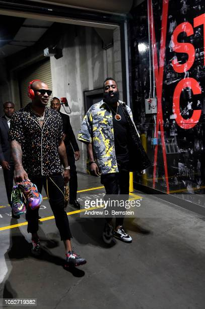 Tucker and James Harden of the Houston Rockets arrives to the game against the LA Clippers on October 21 2018 at Staples Center in Los Angeles...