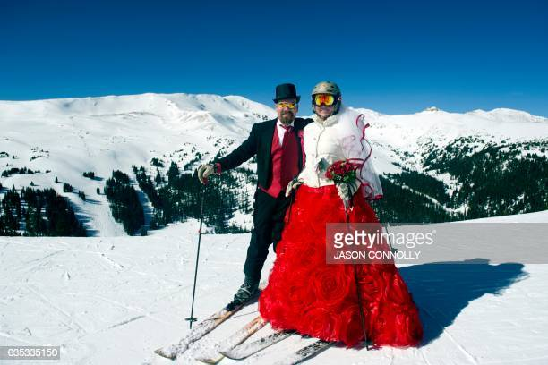 Tucker and Karyn Brown pose for a portrait while celebrating their 10th wedding anniversary during the Loveland Ski Area 26th Annual Valentine's Day...