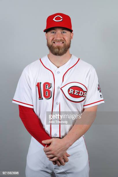 Tucker Barnhart of the Cincinnati Reds poses during Photo Day on Tuesday February 20 2018 at Goodyear Ballpark in Goodyear Arizona