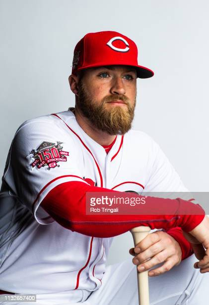 Tucker Barnhart of the Cincinnati Reds poses for a portrait at the Cincinnati Reds Player Development Complex on February 19, 2019 in Goodyear,...
