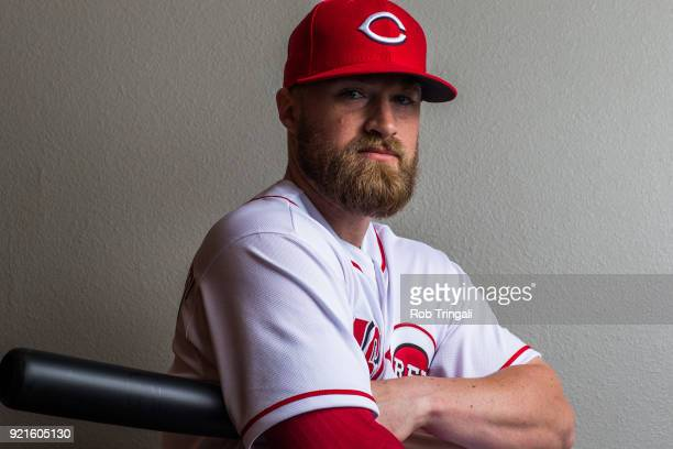Tucker Barnhart of the Cincinnati Reds poses for a portrait at the Cincinnati Reds Player Development Complex on February 20 2018 in Goodyear Arizona