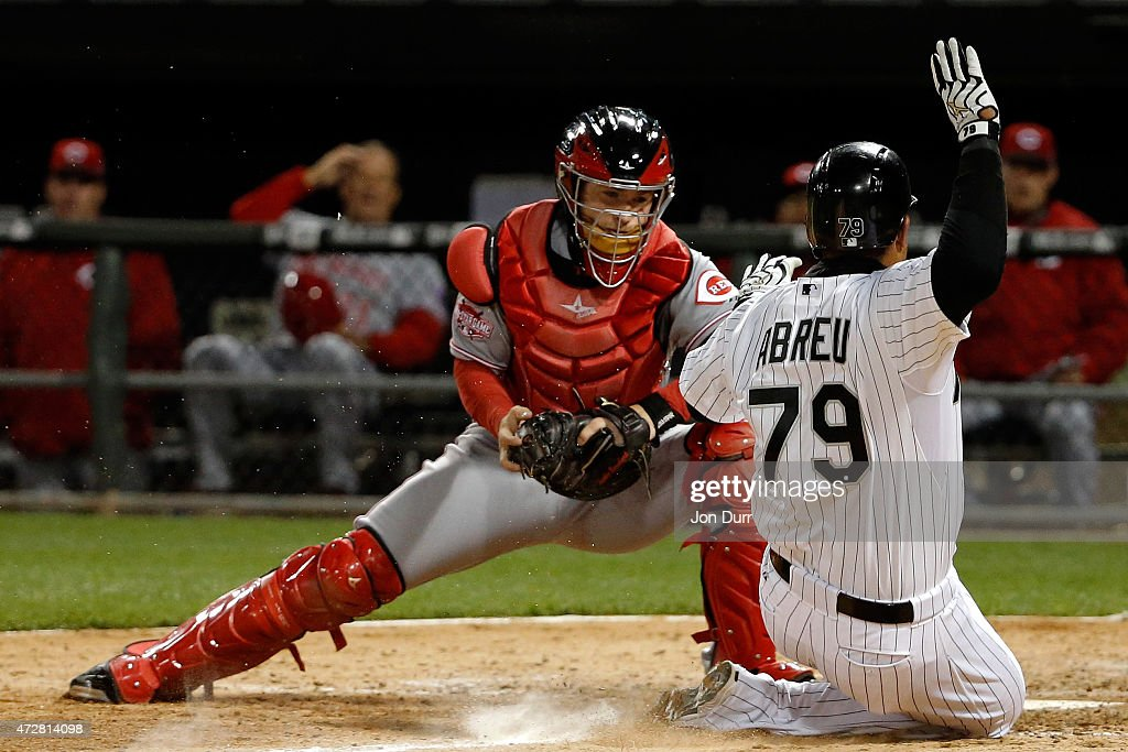 Tucker Barnhart #16 of the Cincinnati Reds tags out Jose Abreu #79 of the Chicago White Sox during the seventh inning in the second game of a doubleheader on May 9, 2015 at U.S. Cellular Field in Chicago, Illinois. The Chicago White Sox won 8-2.