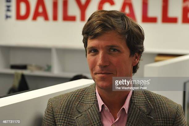 Tucker Carlson a conservative pundit at the office of the new website the Daily Caller on January 6 in Washington DC The site at which Carlson is the...