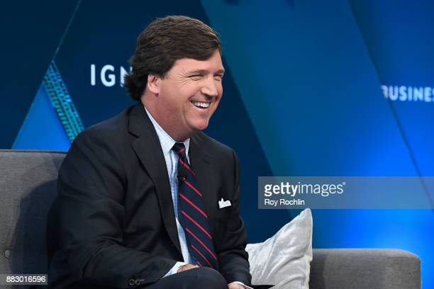 "Tucker Carlson, host of ""Tucker Carlson Tonight"" speaks onstage at IGNITION: Future of Media at Time Warner Center on November 29, 2017 in New York..."