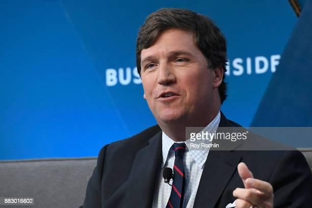 Tucker Carlson host of Tucker Carlson Tonight speaks onstage at IGNITION Future of Media at Time Warner Center on November 29 2017 in New York City