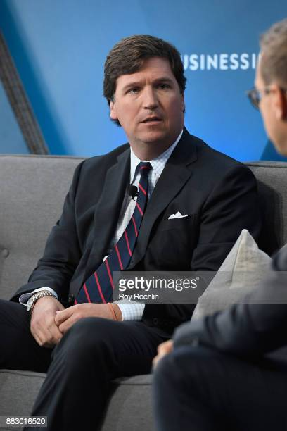 "Tucker Carlson, host of ""Tucker Carlson Tonight"" speaks onstage with Nicholas Carlson at IGNITION: Future of Media at Time Warner Center on November..."