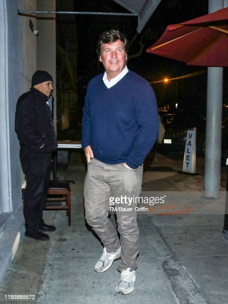 Tucker Carlson is seen on January 14, 2020 in Los Angeles, California.