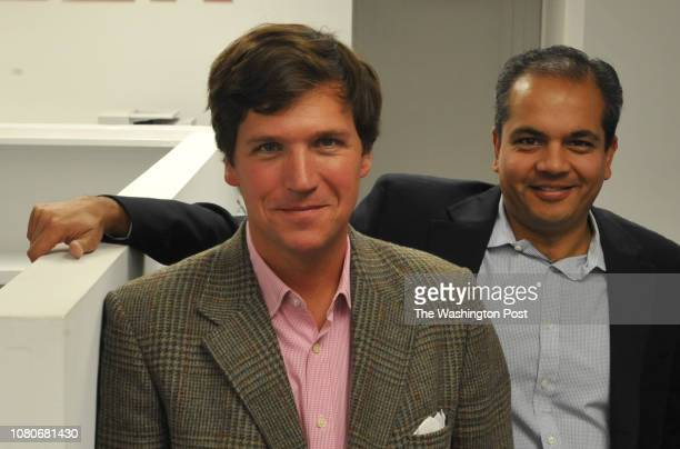Tucker Carlson, L, and Neil Patel at the office of the new website, the Daily Caller, on January 6 in Washington, DC. The site, at which Carlson is...