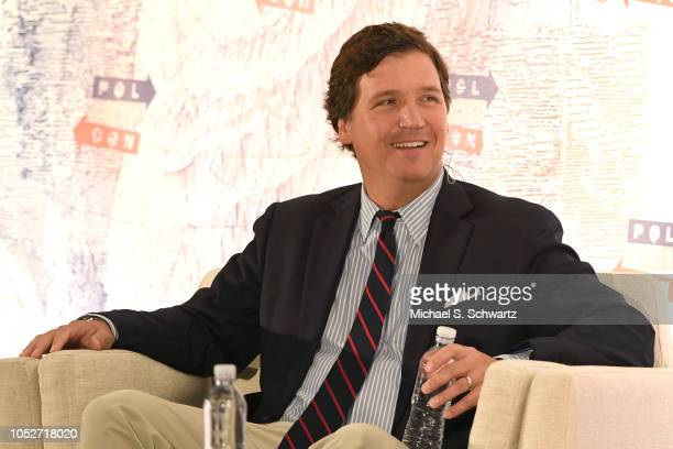 Tucker Carlson speaks onstage at Politicon 2018 at Los Angeles Convention Center on October 21 2018 in Los Angeles California