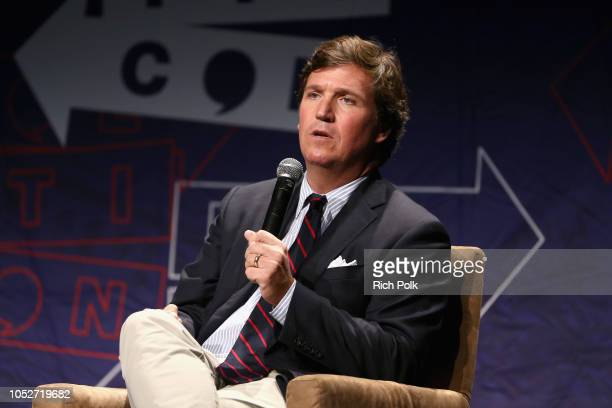 Tucker Carlson speaks onstage during Politicon 2018 at Los Angeles Convention Center on October 21 2018 in Los Angeles California